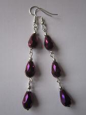 Long Drop / Dangle Earrings - Purple Crystal Droppers, Silver Plated