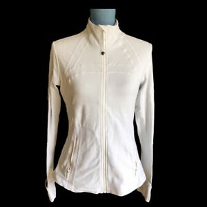 Lululemon Define Jacket Size 10 White Full Zip Up Thumbholes Cuffins Run Tennis