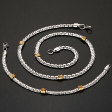 Gold Silver Stainless Steel Necklace Bracelet Bangle Cuff Chain Link Jewelry Set