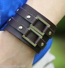 REAL LEATHER WRISTBAND WRIST STRAP BAND BRACELET BLACK BROWN BUCKLE UK A48 A49