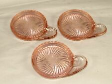 3 Rare Macbeth-Evans Pink Depression Glass Tea-Coffee Cup Coasters w/Spoon Rests