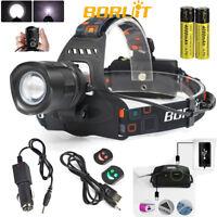 BORUiT 20000LM Stirnlampe XM-L2 LED Zoomable Kopflampe Headlamp 18650 Ladegerät