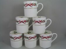 SET OF SIX ROYAL WORCESTER HOLLY RIBBONS LARGE COFFEE MUGS.