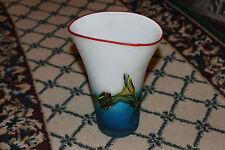 Lovely Art Glass Vase-Frosted White Glass W/Blue Swirl Ocean Waves-LQQK
