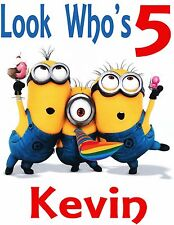 DESPICABLE ME MINIONS Custom Birthday T Shirt Gift Personalize Name - Look Who's