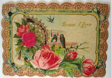 Victorian Die Cut, Embossed, Glitter & Scrap Decorated Valentine w/ Blue Birds