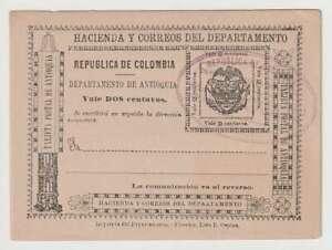 D2793 : 1896 Antioquia, Colombie 2 Cent Postal Cartes