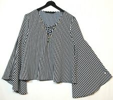NAVY BLUE WHITE STRIPED LADIES CASUAL PARTY TOP BLOUSE V-NECK  ZARA SIZE S