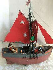 Vintage 1991 PLAYMOBIL 3174 PIRATE SHIP Red Corsair Pre-Owned