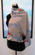 Zazou Luxe Silk Asian Floral & Velvet Scarf