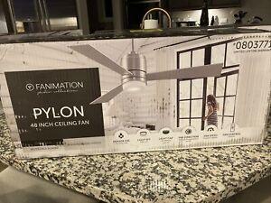 "Fanimation Pylon 48"" Brushed Nickel Indoor Ceiling Fan LED w/ Remote - 3 Blade"
