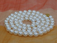 """AAA 8-9mm white round Freshwater natural genuine cultured Pearl necklace 17"""""""