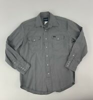 WRANGLER Retro Gray Denim Mens Western Cowboy Pearl Snap L/S Shirt Size Large