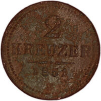 AUSTRIA coin 2 Kreuzer 1851 mint mark B