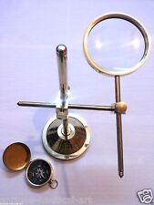 Brass Magnifier Map Reader Magnifying Glass Collectible Table Top Item