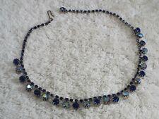 Silvertone AB & Blue Rhinestone Necklace (B48)