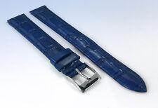 18mm Genuine LEATHER Watch Strap Band BLUE CROCO Crocodile Grain