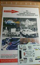 DECALS 1/18 REF 0963 RENAULT 17 GORDINI THERIER USA RALLY 1974 RALLYE WRC