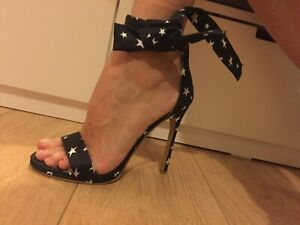 NEW Heels sexy lace-up Dark Blue Navy fabric with white Stars size 6