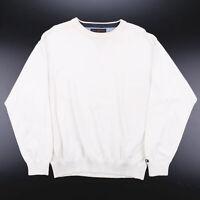Vintage TOMMY HILFIGER  White Classic Crew Neck Cotton Plain Jumper Mens L