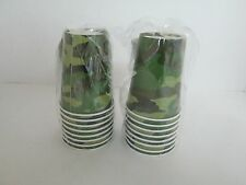 ARMY CAMOUFLAGE HOT COLD CUPS 9 OZ, 8 pk - Lot of 2 Packages - PARTY SUPPLIES