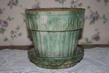 Houghton Pottery Dalton Ohio Stoneware Green White Spongeware Small Flowerpot