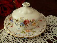 JUBILEE ROSE ROUND BUTTER DISH WITH UNDER PLATE BY ROYAL ALBERT ENGLAND