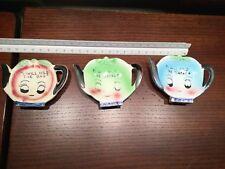 3 Vintage Tea Bag Holders I'll Hold the Tea Bag Japan Blue Green