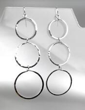 CHIC Lightweight Artisanal Urban Anthropologie Silver Rings Dangle Earrings 24S
