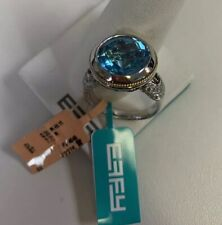 EFFY 14K Gold & Silver Blue Topaz Ring with Brown & White Diamond size 7.25 New