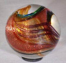 "Wald art glass marble aventurine / Lutz ribbon 1.1"" 28mm contemporary sphere"