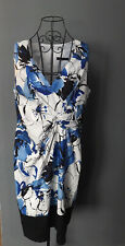 Coast Dress Size 16 White Blue Floral Lined Smart Occasion Party