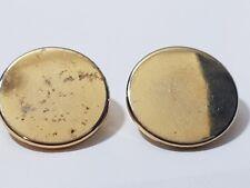 2 x Vintage Shiny Gold Metal Flat Plain Style Shank Button 20mm FREE POSTAGE