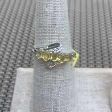 Yellow Sapphire & Sterling Silver Ring 925 Size 7 New In Gift Box