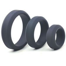 Black Extra Thick Triple Penis Cock Ring Set Silicone Adult Sex Toy