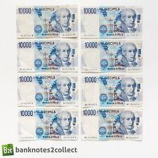 ITALY: 8 x 10,000 Italian Lira Banknotes.