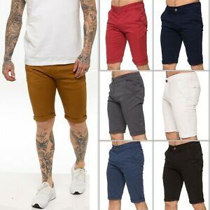 ENZO Mens Chino Shorts Cotton Casual Summer Half Pants Stretch Slim Fit Short