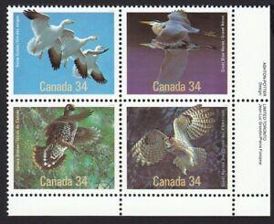 Birds = Owl, Heron, Grouse, Goose = Canada 1986 # 1098a MNH LR BLOCK OF 4