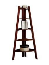 Furniture of America Andrea 5-Tier Corner Bookshelf, Cherry, New, Free Shipping