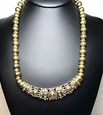 Vintage Avon Signed Gold And Silver Bead Necklace And Pendant