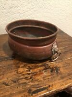 """Vintage Hammered Brass copper Lion Head Handles Planter Pot 9"""" By 6"""" By 4 Tall"""