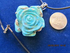 Sally C Treasures Turquoise Rose Pendant With Black Cord Set In Sterling Silver