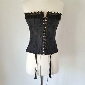 Frederick's of Hollywood Black Corset Bustier Size 36 Lace Up Brocade Garters