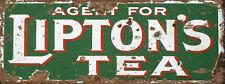 Liptons Tea Advert War Vintage Retro Kitchen ENAMEL METAL TIN SIGN WALL PLAQUE