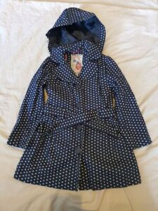 Girls Coat Raincoat Hooded Age 7-8yrs Blue Polka Dot Next