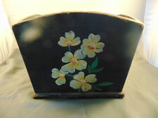 Vintage handcrafted wood box Magnolia flowers tole painted art mail trash can