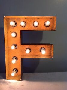 """New Rustic Metal Letter F Light Marquee: Sign Wall Decoration 12"""" Vintage"""