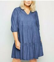 NEW LOOK Curve Blue Midi Denim Long Sleeve Causal Fit & Flare Dress UK 18 to 28