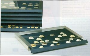 Coin Drawer Stackable Lined with Royal Blue Velour with Plastic Case New # 11A