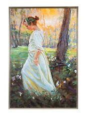 Original Gemälde Ölgemälde mit Rahmen Mädchen im Wald modern 124cm